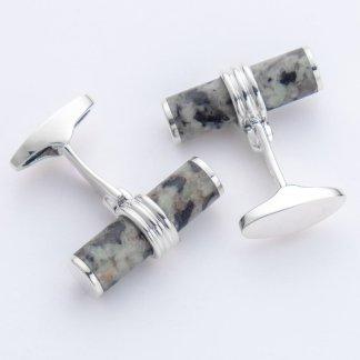 Guernsey black white cylinder hallmarked sterling silver cufflinks