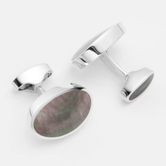 Large oval black lip pearl hallmarked sterling silver cufflinks
