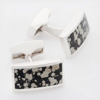 Septarian pyrite rectangle hallmarked sterling silver cufflinks