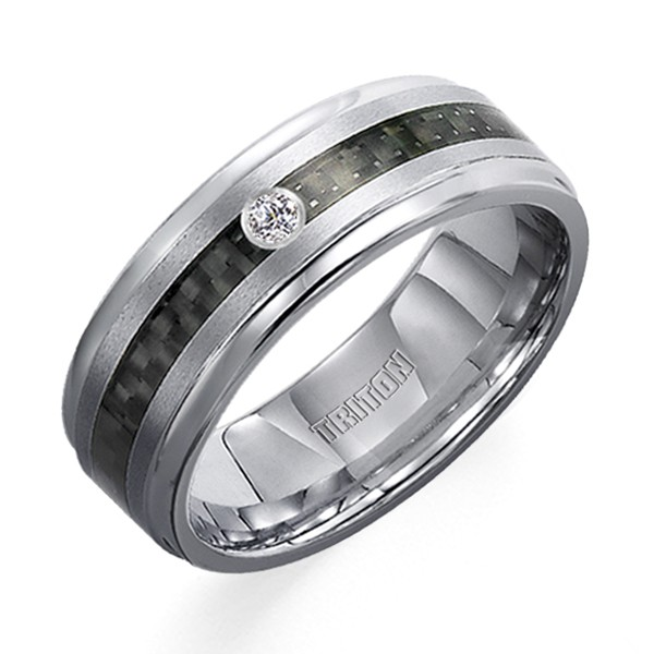 Tungsten Carbon Fiber Diamond Band