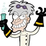 Cartoon of a mad scientist