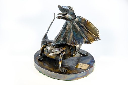 """E LIZ-ard"" Mild steel, lizard sculpture."