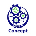 O2k-Concept icon - 3 gears: one with mitochondria and cell organelles, one with a clock, one with coins