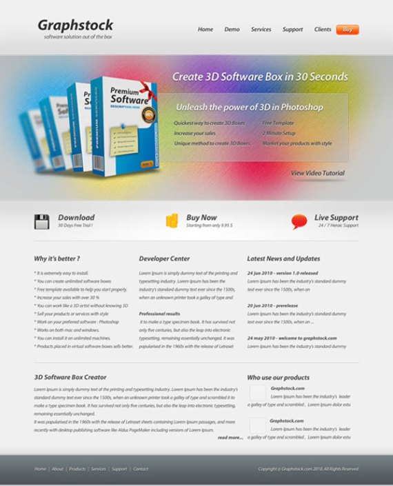 Sleek software layout
