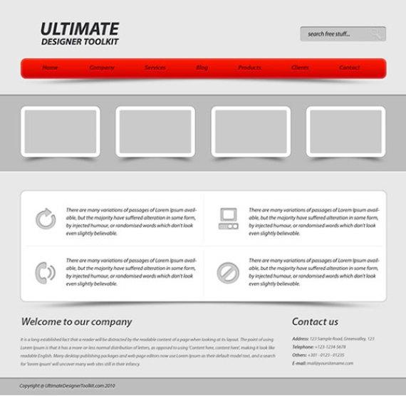 Corporate web layout