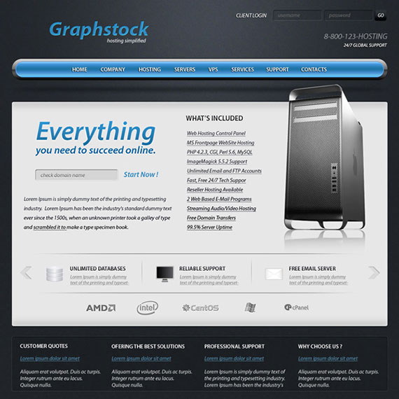 Glossy web hosting layout