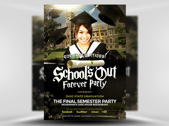 Schools Out Forever Party Flyer Template