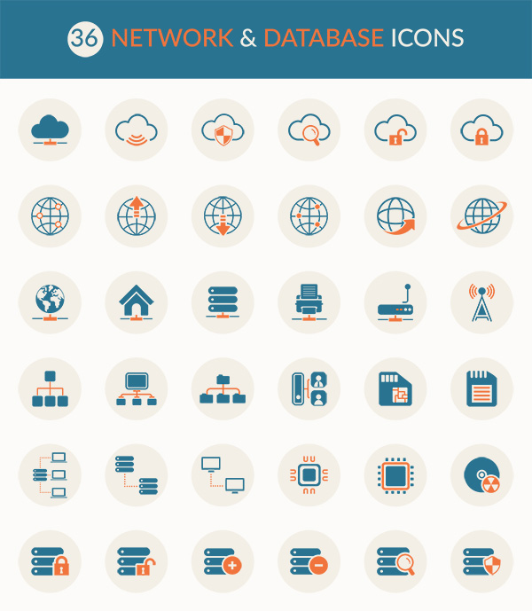 network-and-database-icon-set
