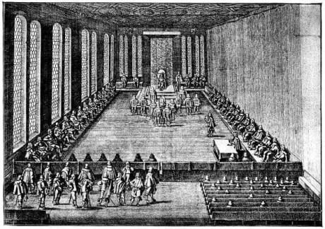 Seduta della dieta imperiale a Ratisbona, 1640 (da un'incisione di Matthäus Merian)