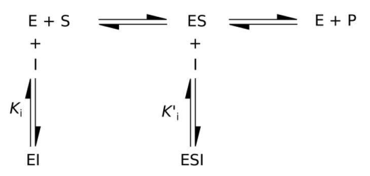 Enzim inhibitörü etki mekanizmaları şematik gösterim