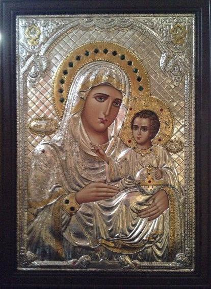 Икона Пресвятой Владычицы нашей Богородицы и Приснодевы Марии «Иерусалимская» с благословляющей надписью Патриарха Иерусалимского ФЕОФИЛА