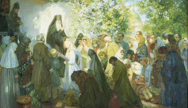 Elder Ambrose with a gathering of pilgrims
