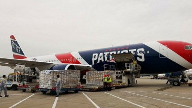 Photo of New England Patriots team plane flying 1.2 million N95 masks from China to help ease coronavirus shortages
