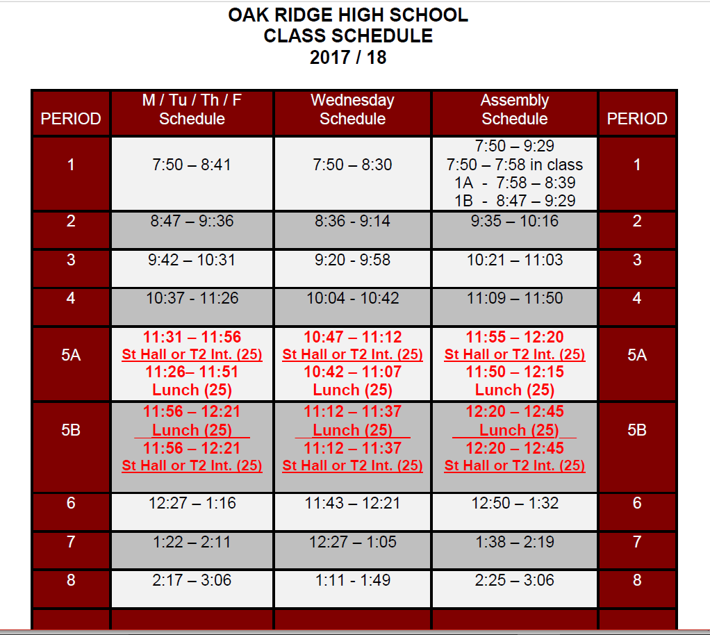 Lunch Calendar Elementary School
