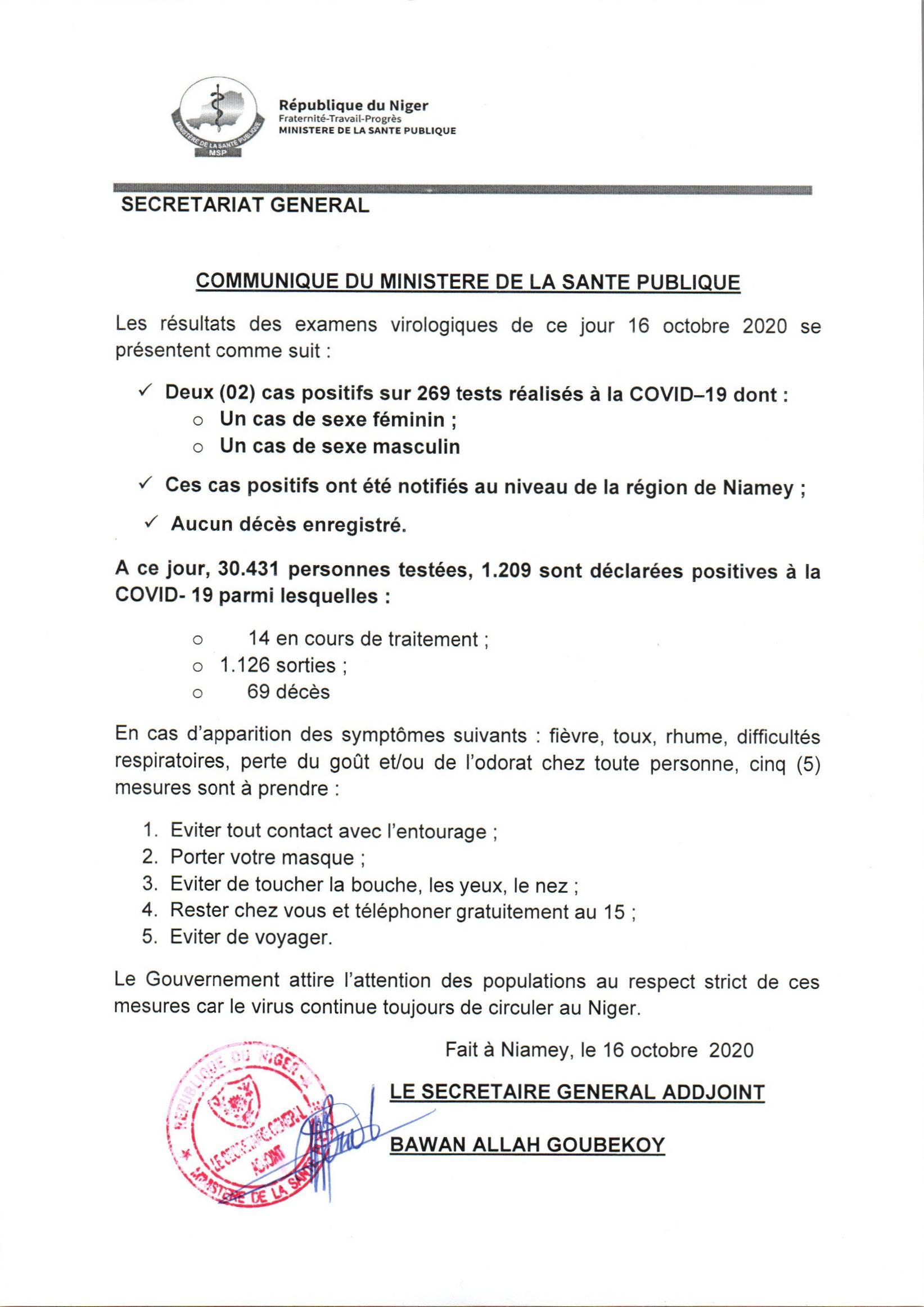 COMMUNIQUE DU MINISTÈRE DE LA SANTE DU 16-10-2020.