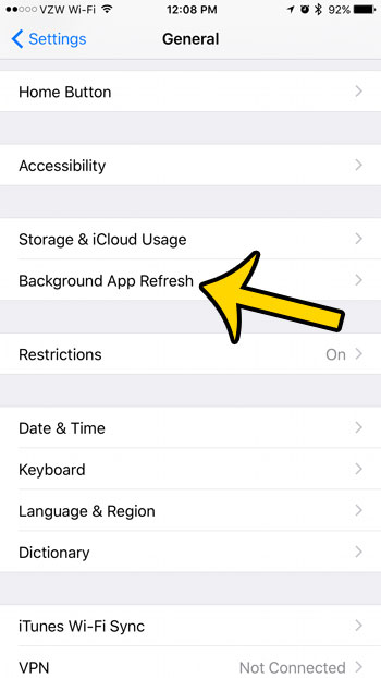select the background app refresh option