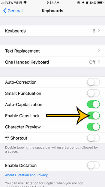 how to enable caps lock on an iphone 7