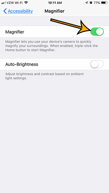 how to enable the magnifier on an iphone 7