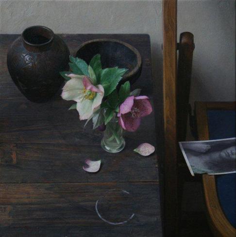 2009年「静物(クリスマスローズ)」S4号 パネル、白亜地、油彩