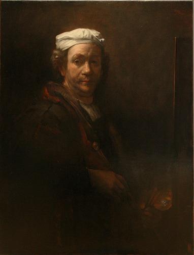 模写ーレンブラント「画架の前の自画像」87.5x67cm キャンバス、油彩
