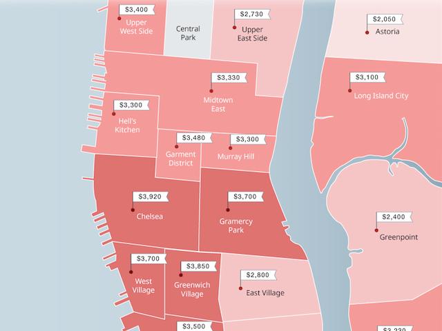 マンハッタンの1ベットルームのエリア別平均家賃を描いたマップ