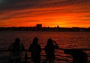 ハドソン川沿いから見えた夕焼けの空