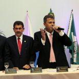 O primeiro secretário da Câmara, Rafael Pinheiro, o presidente da ALERJ, Paulo Melo, o presidente Marcos Vinícius e a prefeita Franciane Motta. (Fotos: Edimilson Soares)