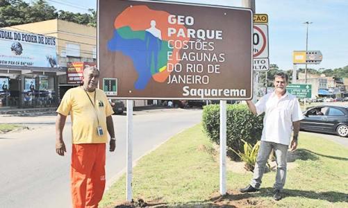 Placa e sinalização para o Geoparque