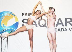 """Pedro Paulo Bravo e sua partner na apresentação do espetáculo """"Corpo Nu"""""""