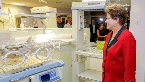 A presidenta Dilma se encantou com a maternidade (Foto: Paulo Stuckert/Palácio do Panalto)