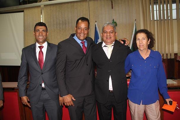 Vereadores eleitos para a Mesa Diretora: Kilinho, Abraão, Romacart e Taeta (Foto: Edimilson Soares)