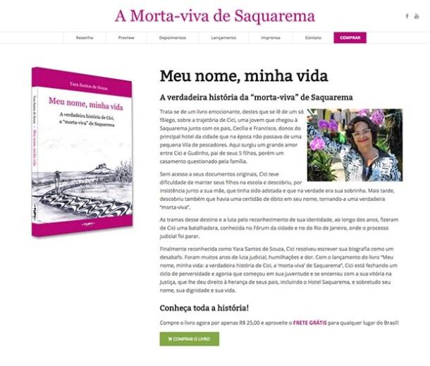 """Página do site do livro """"Meu nome, minha vida - a verdadeira história da 'morta-viva' de Saquarema"""" que agora pode ser adquirido pela internet"""
