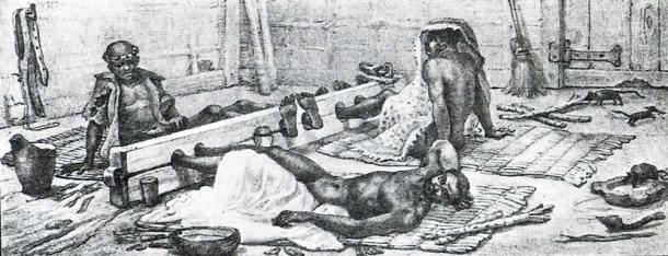 O tronco era um instrumento de suplício, tortura e humilhação, usado para castigar os escravos que ficavam presos e imobilizados, sofrendo um intenso desgaste físico e moral. Debret