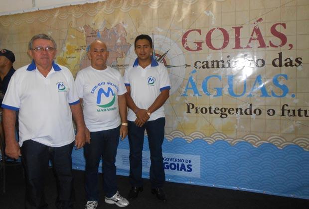 Carlos, Onézio e Marcone, membros do Comitê da Bacia Hidrográfica do Rio Munin, no XVII ENCOB, realizado em Caldas Novas, Goiás
