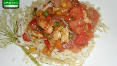 Рецепта за Салата оризови спагети с прошуто