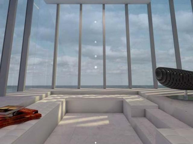 Футуристична къща със спа на открито и барбекю над океана