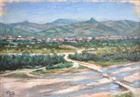 Canossa sullo sfondo dell'Enza, Olio su carta a mano, cm.36×52, 2008