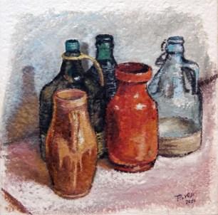 Ceramica e vetro, Olio su carta a mano, cm.50X50, 2010 ■