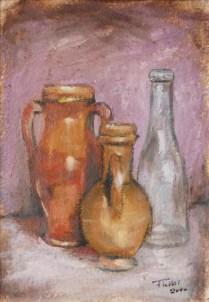Composizione di vasi, Acrilico su carta a mano, cm.36x26, 2010 ■