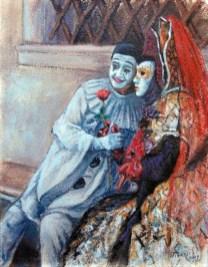 IL PIERROT E LA MASCHERA, Oil on handmade paper, cm.60x50, 2007 ■