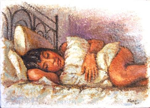 IL RIPOSO DI MICOL, Acrylic on handmade paper, cm.50x70, 2010 ■