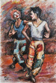 LA DANZA DEI CLOWNS, Olio su carta a mano, cm.51×36, 2008