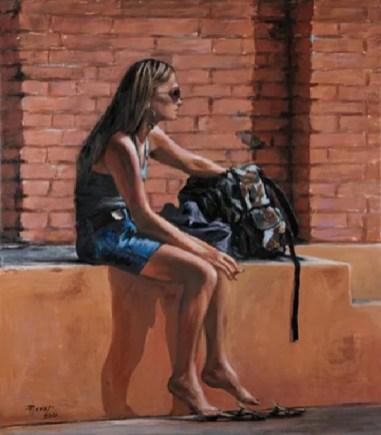 LA RAGAZZA CON LO ZAINO E SIGARETTA, Acrylic on canvas, cm.80x70, 2010 ■