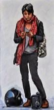 RAGAZZA DELLO SCOOTER, Acrylic on canvas, cm.120x60, 2014