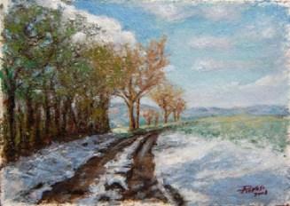 SULLE COLLINE DI BAZZANO, Oil on handmade paper, cm.36x51, 2008 ■