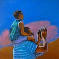 Nuvole rosa, Acrylic on canvas cm30x30, 2109