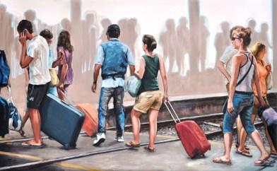 LA STAZIONE, Oil and acrylic on canvas, cm.80x130, 2010