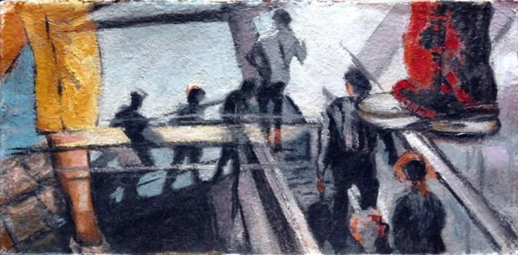 STUDIO PER TRAVELING, Olio su carta a mano, cm.36x73, 2010 ■