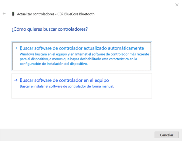 administrador de dispositivos windows 10 adaptador CSR Bluecore Bluetooth 4.0 buscar drivers
