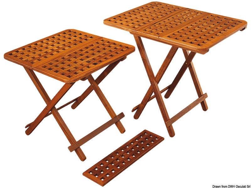 table pliante en teck et rallonges arc